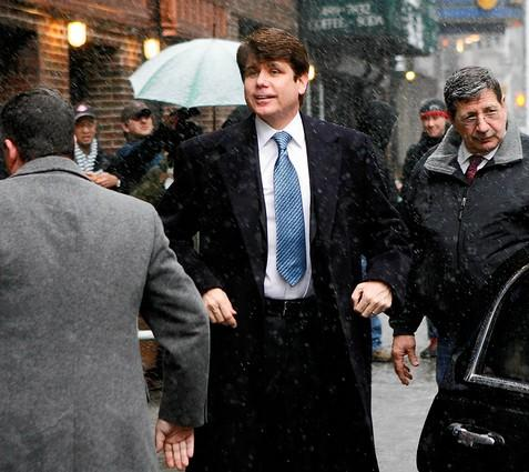 "Former Illinois Gov. Rod Blagojevich arrives for a taping of the ""The Late Show with David Letterman"" in New York. Ousted as Illinois governor and looking for a job, Blagojevich returned to national television to proclaim his innocence on corruption charges."
