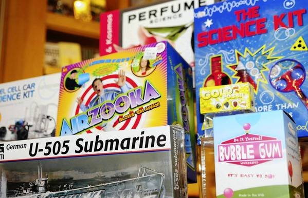 A collection of items are seen at the Museum of Science and Industry's gift shop.