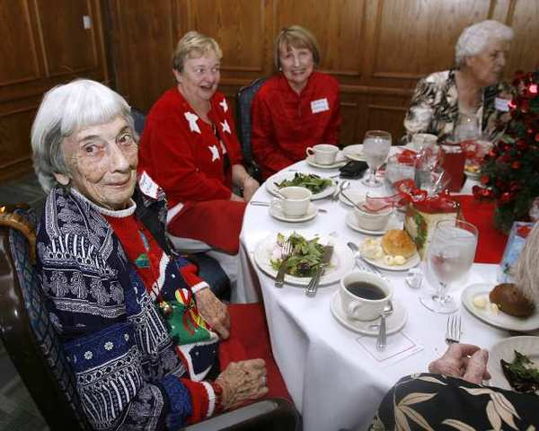 Margaret McMillan, 93, was honored along with about 30 other volunteers, at the annual Christmas luncheon for retired service volunteers who help at the Assistance League of La Canada Flintridge, at the La Canada Flintridge Country Club.