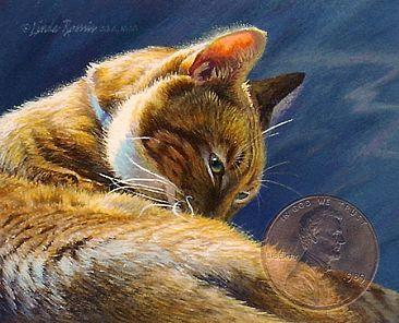 """Neatness Counts"" by Linda Rossin, received an honorable mention at the 2012 Miniature Art show on display at Council for the Arts in Chambersburg, Pa. The penny (not part of the art) indicates the size of the painting."