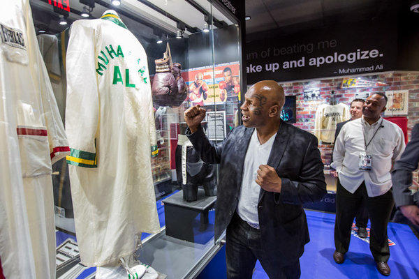Mike Tyson visits new sports museum in Las Vegas.