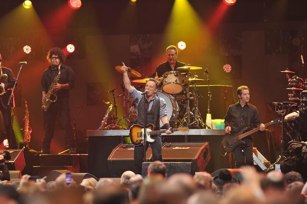 Bruce Springsteen kicks off the 12-12-12 benefit concert in Madison Square Garden in New York City.