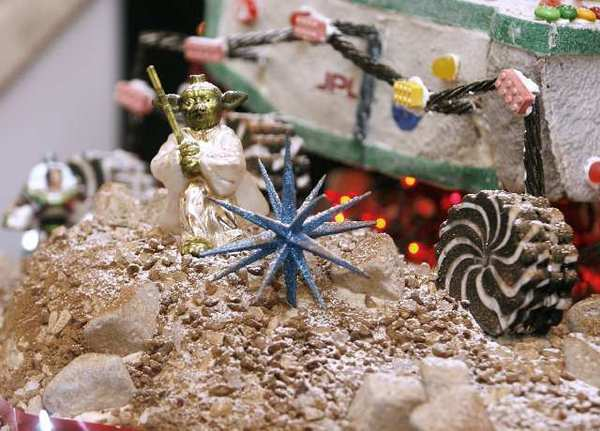 Detail of Executive chef Kevin Isacsson's gingerbread Mars rover Curiosity at the Athenaeum lobby at Caltech in Pasadena.
