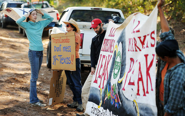Opponents of the Keystone XL pipeline protest in Texas.