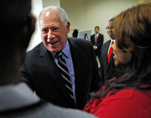 Gov. Pat Quinn, appearing at DePaul University's downtown campus Wednesday, said he'd like to see an assault weapons ban in the state.