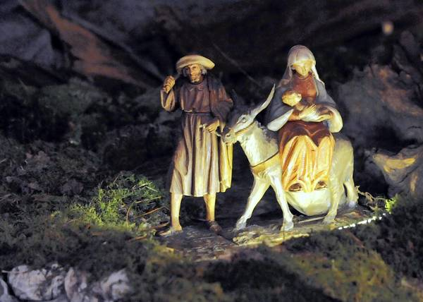 Joseph, Mary and Jesus are the centerpiece of the putz at Central Moravian Church in Bethlehem.