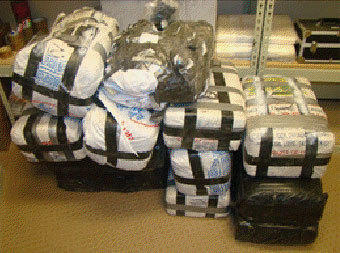 These bundles of marijuana weighing a total of about 300 pounds fell from an ultra-light aircraft into Calexico area early Wednesday.