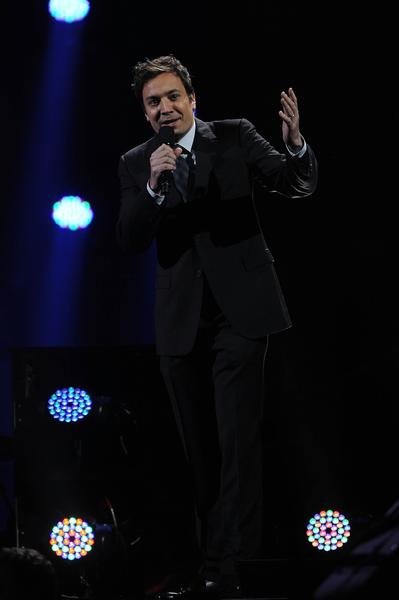 Jimmy Fallon performs at the 12-12-12 concert.