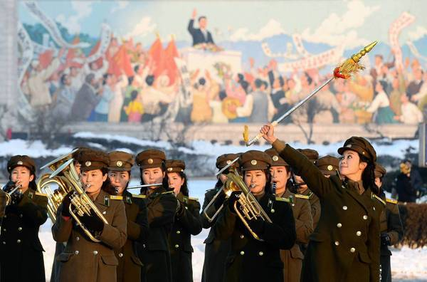 A North Korean military band in Pyongyang performs in celebration of the nation's launch of a long-range rocket. The launch has further boosted leader Kim Jong Un's image.