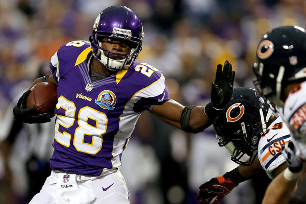 Adrian Peterson punked the Bears again, scoring two touchdowns. Of course, Jay Cutler hurt the Bears just as much, throwing one interception that was returned for a TD and another that was returned almost as far. Ug. Ly.