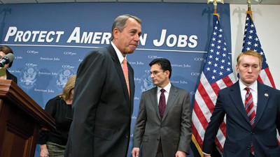 House Speaker John Boehner of Ohio, leaves after a news conference on Capitol Hill in Washington, Wednesday, Dec. 12, 2012, following the GOP caucus.