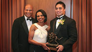 Manti Te'o's crazy, whirlwind of a week ended just the way he wanted: with the Ronnie Lott IMPACT Trophy at the Pacific Club in Newport Beach.