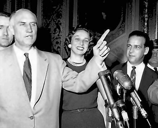 Sen. Strom Thurmond emerges from the Senate chamber on Aug. 29, 1957, after speaking against a civil rights bill for 24 hours and 18 minutes, a filibuster record that remains today.