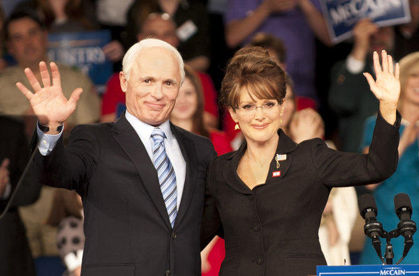 "Ed Harris portrays Arizona Sen. John McCain, left, and Julianne Moore portrays Sarah Palin, in a scene from ""Game Change, """