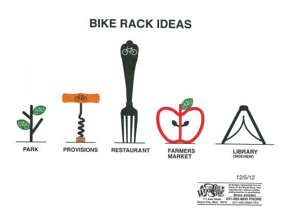 Preliminary design ideas for functional art bicycle racks in downtown Boyne City.