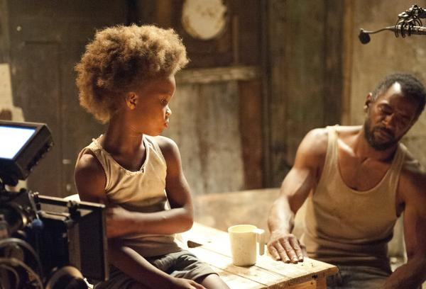 "Quvenzhane Wallis and Dwight Henry on the set of ""Beasts of the Southern Wild,"" which was shut out of the nominations for the Golden Globes."