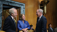 Lieberman Talks With Landrieu and Coats
