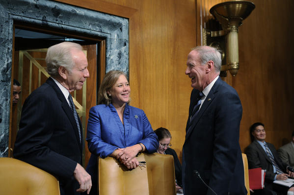 WASHINGTON, DC 12/04/12 Sen. Joseph Lieberman (left) talks with Sen. Mary Landrieu (D-LA) (center) and Sen. Dan Coats (R-IN) before a hearing with the Senate Appropriations Subcommittee on Homeland Security on disaster relief for Hurricane Sandy victims.  Lieberman, along with senators from New York, New Jersey and Rhode Island, attended the hearing to testify about the needs of their states.