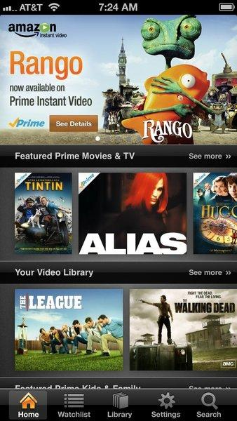 A screenshot of the Amazon Instant video app for the iPhone and iPod Touch.
