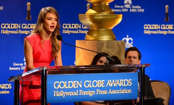 Jessica Alba announced the Golden Globe nominations on Thursday along with Megan Fox and Ed Helms.