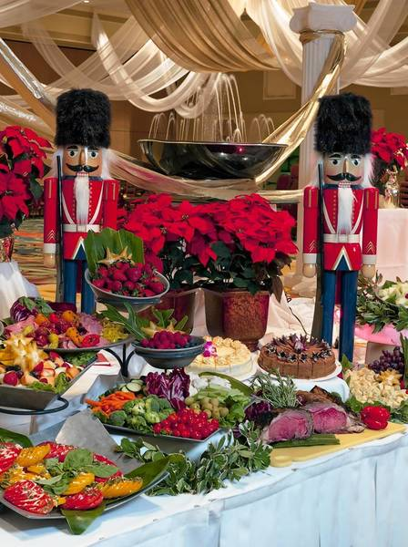 The festive Christmas Day buffet at Orlando's Rosen Plaza Hotel.