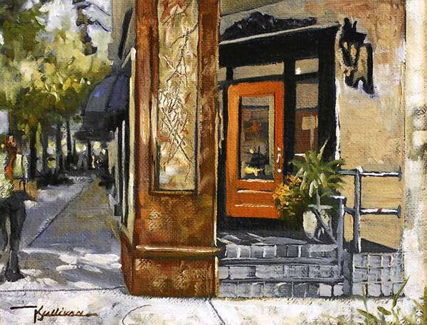 "The small-paintings show at Fredlund Fine Arts includes ""Park Avenue Corner"" by Kent Sullivan."