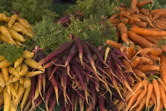 Yellow, purple and orange carrots grown by Weiser Family Farms in Tehachapi.
