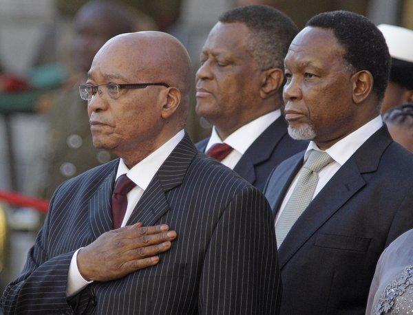 South African President Jacob Zuma, left, and Deputy President Kgalema Motlanthe, right, at the opening of Parliament in Cape Town, South Africa, on Feb. 9.