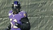 The Ravens remain mum on whether <strong>Ray Lewis</strong> will play Sunday against the Denver Broncos, but the middle linebacker was present at the early portion of practice open to the media.