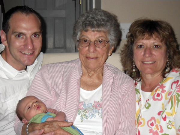 Four generations of a local family are shown. From left is Jason Rethemeyer of Charlottesville, Va., father; Ginny Bussard of Hagerstown, great-grandmother, holding Ryan Rethemeyer of Charlottesville; and Carol Rethemeyer of Taneytown, Md., grandmother.