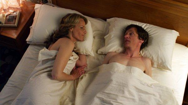 "Helen Hunt, left, and John Hawkes in a scene from ""The Sessions."""