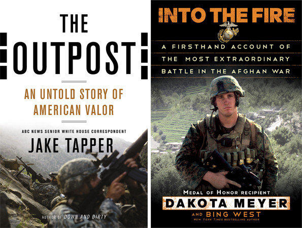 Covers of 'The Outpost' and 'Into the Fire.'
