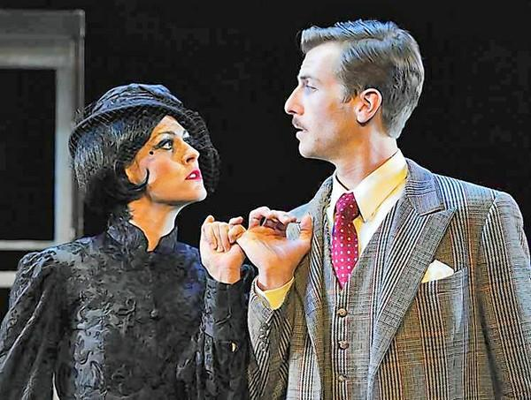 "Larissa Klinger and Dan Fenaughty star in the Laguna Playhouse production of ""The 39 Steps."""