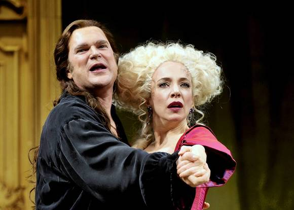 "Ben Carlson and Deborah Hay star in the Chicago Shakespeare Theater production of ""The School for Lies."""