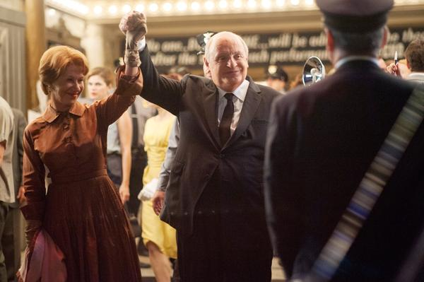"Helen Mirren as Alma Reville and Anthony Hopkins as Alfred Hitchcock in the movie ""Hitchcock."""