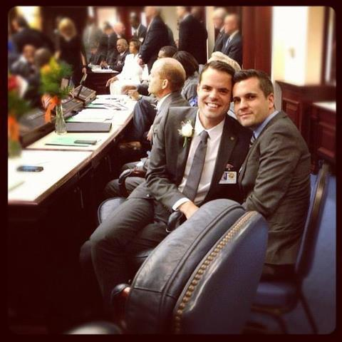 State Rep. Joe Saunders, D-Orlando, and partner Donald Rupe on the floor of the Florida House of Representatives when Saunders took office.