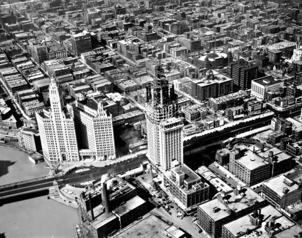 A bird's-eye view of the Wrigley Building, left, on Michigan Avenue and the construction of the Tribune Tower in 1924.