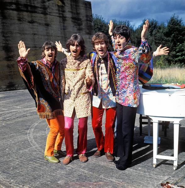 "The Beatles in the ""I Am The Walrus"" sequence of ""Magical Mystery Tour."""