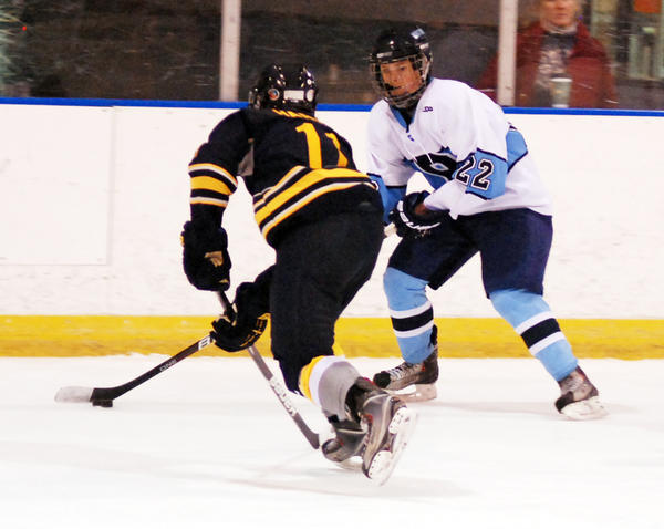 Petoskey sophomore forward Michael Forton (right) scored the third and final goal Wednesday as the Northmen defeated Cadillac, 3-1, in a Big North Conference contest. With the win, Petoskey improves to 4-2-0 overall, 1-1-0 Big North Conference.