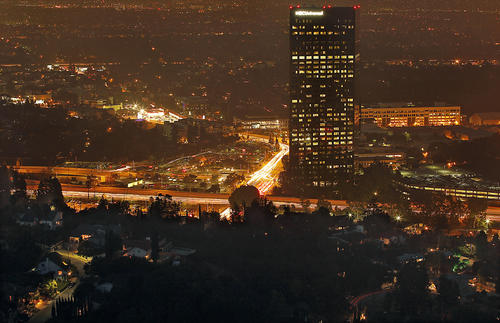 The underrated 10 Universal City Plaza, the tallest building in the Valley at 36 stories, looms over Lankershim Boulevard.
