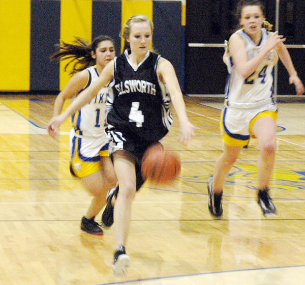 Ellsworth senior Tara Essenberg (4) had a game-high 10 points and eight rebounds as the Lancers defeated Alanson, 36-24, Wednesday in a Northern Lakes Conference contest in Alanson.
