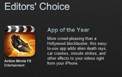 Apple named Action Movie FX its top iPhone app of the year.