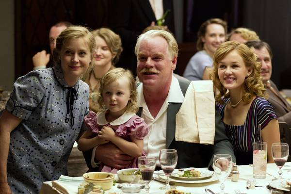 "Amy Adams, left, Philip Seymour Hoffman and Jillian Bell in ""The Master."""
