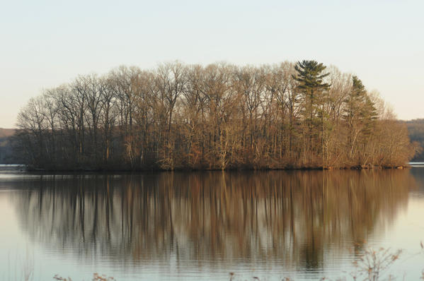 An island visible from the Moodus Reservoir Causeway.
