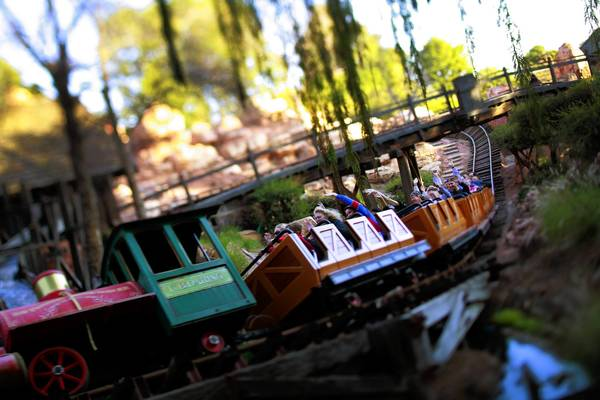 Big Thunder Mountain Railroad has been operating since 1979 and portrays a runaway train that speeds through a barren Old West landscape.