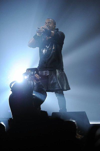 Rapper Kanye West performs at the 12-12-12 benefit for Superstorm Sandy victims Wednesday night.