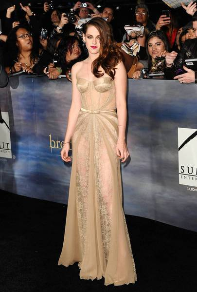 "Actress Kristen Stewart creates a stir in a revealing Zuhair Murad corseted gown at the L.A. premiere of ""The Twilight Saga: Breaking Dawn - Part 2"""