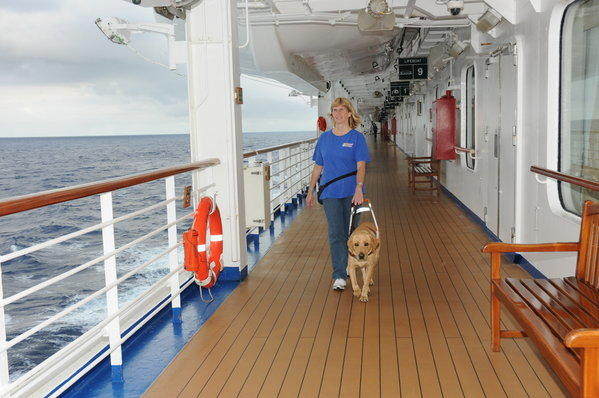 Porsche, a 3-year-old Lab, checks out the Promenade deck with her owner, Nancy Shugart.