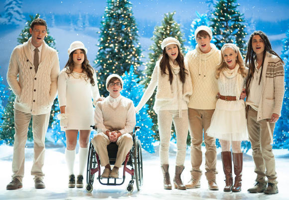 The glee kids are singing in a winter wonderland.