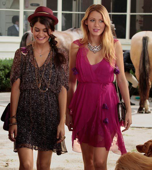 'Gossip Girl' fashion: The good, the bad and the exceedingly ugly: On the upside, its a great color on her. On the downside, it looks like there are holes in the back. And on the Huh? side, whats with those purple pompoms?
